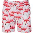 original penguin mens flamingo drawstring print swim shorts ballad blue