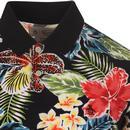 ORIGINAL PENGUIN Retro 70s Floral Print Polo Top