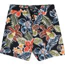 original penguin mens bold tropical print drawstring swim shorts navy multi