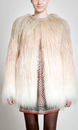 PEPE JEANS WOMENS RETRO 60S VINTAGE FAUX FUR COAT