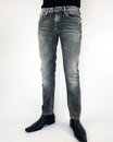 PEPE MENS JEANS HATCH SKINNY DRAINPIPE GREY BLACK
