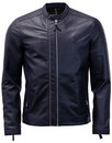 pretty green addison 70s leather biker jacket navy
