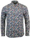 pretty green alvey retro mod floral paisley shirt