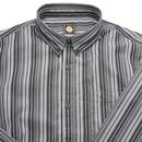 PRETTY GREEN 60s Mod Engineered Stripe Shirt GREY