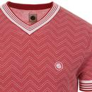 PRETTY GREEN Mens Retro Knitted Chevron Tee RED