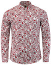Lescott PRETTY GREEN Retro Mod Paisley Shirt - Red