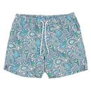 pretty green paisley print swim shorts green/blue