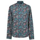 PRETTY GREEN Mod 60's Signature Paisley Shirt TEAL