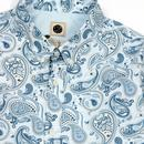 Paisley PRETTY GREEN 60s Slim Fit L/S Shirt Blue