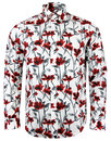 pretty green prubella retro mod floral shirt white