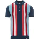 pretty green vertical stripe knitted polo blue