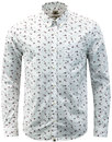 pretty green ulberry retro mod floral shirt white