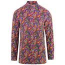 PRETTY GREEN 60s Vintage Paisley Cord Kaftan Shirt