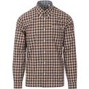 pretty green mens check long sleeve regular fit shirt black orange