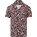 pretty green mens floral print short sleeve bowling shirt red navy
