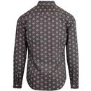 PRETTY GREEN Leaf Print Penny Collar Shirt (Blue)