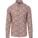 PRETTY GREEN Liberty Print Retro Floral Shirt Red