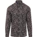pretty green mens paisley print long sleeve slim fit shirt black