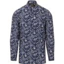 pretty green mens paisley print kaftan long sleeve shirt navy blue