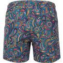 PRETTY GREEN Retro Paisley Swim Shorts (Blue)