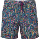 pretty green mens paisley print drawstring swim shorts blue