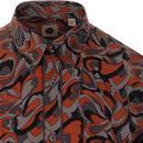 PRETTY GREEN Mod Psychedelic Button Down Shirt (O)
