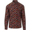 pretty green mens psychedelic print long sleeve shirt orange grey