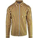 pretty green mens slim fit stripe print long sleeve shirt mustard brown