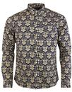 pretty green wardour shirt navy mod