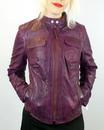 MADCAP ENGLAND WOMENS RETRO LEATHER JACKET PURPLE