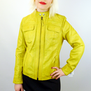 MADCAP ENGLAND WOMENS RETRO LEATHER JACKET YELLOW