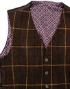 Retro 1960s Mod Wool Windowpane Check Waistcoat