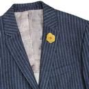 Retro 60s Mod Linen Blend Pinstripe Blazer Jacket