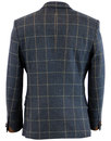 Retro Mod Window Pane Tweed Check 2 Button Blazer