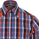 SKA & SOUL Mod Check Spear Point Collar Shirt NAVY