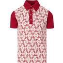 ska and soul mens geo pattern jacquard knit front panel polo tshirt blood red