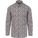 ska and souls mens mono paisley print long sleeve shirt grey white