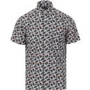 ska and soul mens paisley print short sleeve shirt petrol