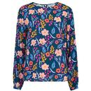 Sugarhill Brighton Etta Retro 70s Blouson Top in Painted Floral Print
