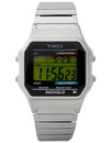Timex 80 digital watch silver