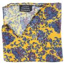 tootal antique botanicals floral paisley pocket square gold