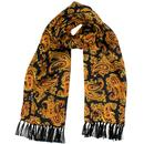 Tootal 60s Mod Black and Gold Paisley Silk Scarf