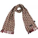 tootal gold & burgundy rayon scarf