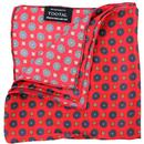 tootal retro mini geo tile print pocket square red