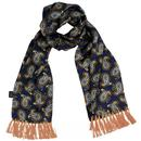 Tootal 1960s Mod Navy and Gold Paisley Silk Scarf