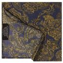 tootal scarves mens gold paisley print rayon pocket square navy