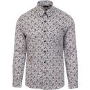 tootal mens paisley print long sleeve shirt black white