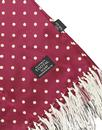TOOTAL Sixties Retro Mod Polka Dot Silk Scarf Wine