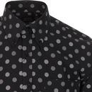 TOOTAL Retro Mod Textured Polka Dot Shirt (Black)