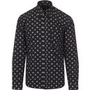 tootal mens patterned spot print long sleeve shirt navy ivory